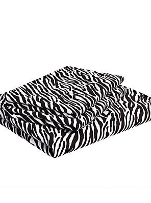 """ark sæt, 4-stykke microfiber sort zebra striber med 12 """"pocket dybde"""