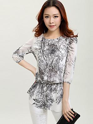 여성의 프린트 라운드 넥 ¾ 소매 블라우스,심플 / 스트리트 쉬크 데이트 블랙 폴리에스테르 얇음