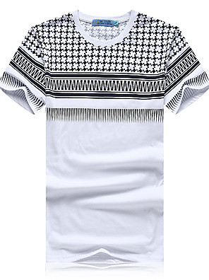 Pánské Tisk Denní nošení / Sportovní Krátký rukáv Bavlna Triko-Bílá