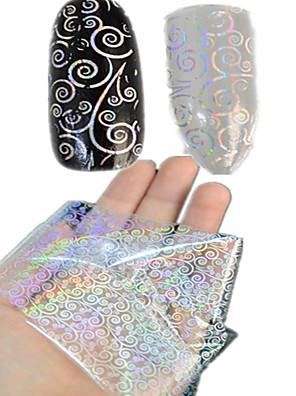 1pcs 100 * 4cm transparante laser nail art overdracht glitterstickers diy geometrisch muntstukken bloem nagel schoonheid lt01-04
