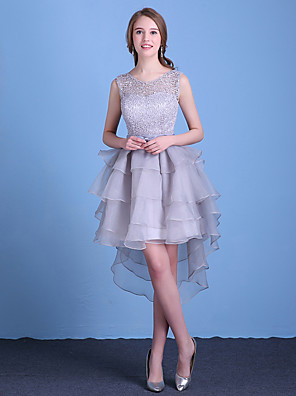 Cocktail Party Dress A-line Jewel Asymmetrical Lace / Organza with Bow(s)