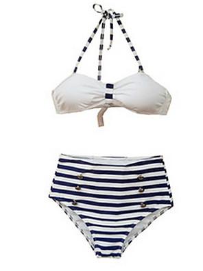 Ρετρό / Magas derekú Megkötős Női Bikini Spandex / Nejlon