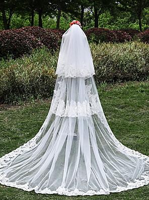 Véus de Noiva Três Camadas Véu Catedral Borda com aplicação de Renda Tule / Renda Marfim