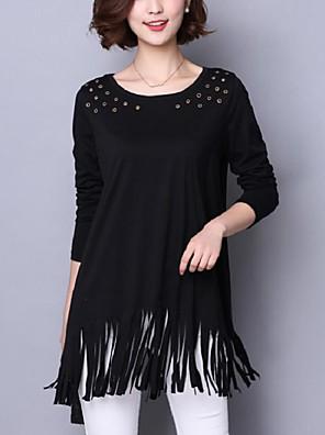 אחיד צווארון עגול סגנון רחוב יום יומי\קז'ואל / מידות גדולות טישרט נשים,סתיו שרוול ארוך שחור בינוני (מדיום) כותנה