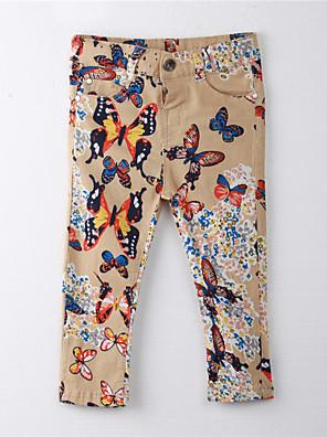 Girl's Print Pants,Cotton Summer Brown