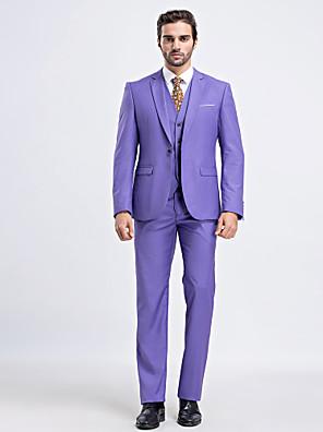 חליפות גזרה צרה פתוח צר Single Breasted One-button 3 חלקים לבנדר דש ישר