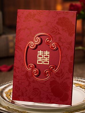 Gepersonaliseerde Drie-voudige Vouw Uitnodigingen van het Huwelijk Uitnodigingskaarten / Verlovingsfeest uitnodigingen-50 Stuk/Set
