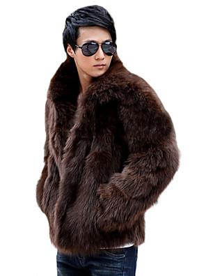 Pánské Jednobarevné Denní nošení / Větší velikosti Dlouhý rukáv Umělá kožešina Kabát-Černá / Hnědá / Bílá