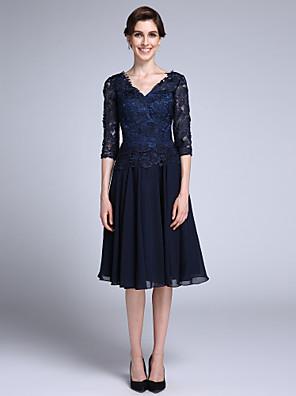 2017 לנטינג אמא נדן / טור bride® של שיפון שרוול חצי אורך ברך שמלת כלה / תחרה עם תחרה