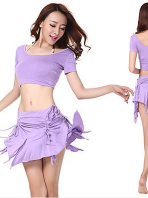 ריקוד בטן תלבושות בגדי ריקוד נשים ביצועים פוליאסטר גדיל (ים) 2 חלקים שרוול קצר נפול חצאית / עליון M:30cm;L:35cm