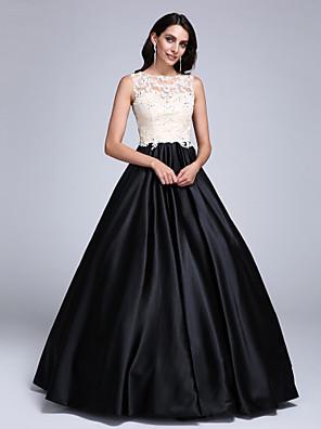 2017 TS לנשף couture® תכשיט שמלת שמלת נשף תחרה באורך רצפה / למתוח סאטן עם אפליקציות / ואגלים