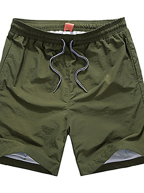 Men's Solid Sport Shorts,Cotton / Polyester Black / Blue / Brown / Green / Red / Yellow