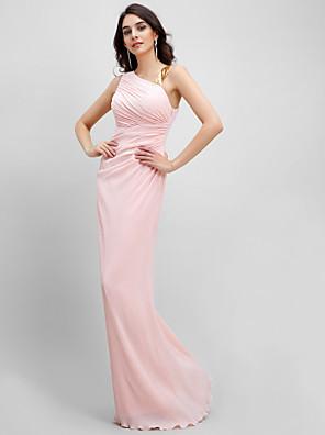 ערב רישמי שמלה מעטפת \ עמוד רצועות עד הריצפה שיפון עם בד נשפך בצד