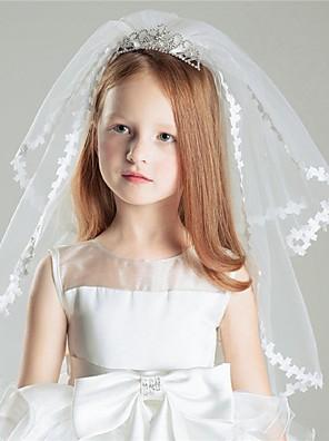 הינומות חתונה שתי שכבות צעיפי כתף קצה סרט טול לבן