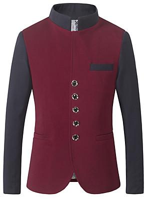 Men's Long Sleeve Regular Blazer,Cotton / Acrylic Patchwork 916205