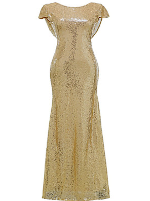 Gold Mermaid V-Neck Mother of the Bride Backless Long Bridesmaid Dresses Wedding Party Gown