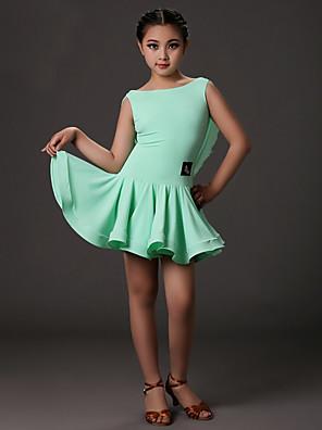ריקוד לטיני שמלות בגדי ריקוד ילדים אימון לייקרה עטוף חלק 1 בלי שרוולים טבעי שמלות S:61cm M:62cm L:63cm XL:64cm XXL:65cm