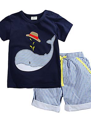 Dyremønster Drengens T-shirt / Shorts Sommer Bomuld