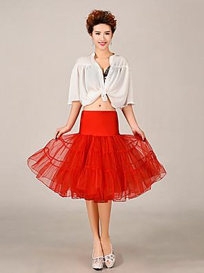 תחתונית  סליפ שמלת נשף באורך ברך 3 רשתות בד טול / פוליאסטר לבן / שחור / אדום / כחול / סגול / ורוד / צהוב / כתום