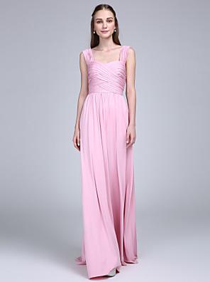 Lanting Bride® Longo Microfibra Jersey Vestido de Madrinha Tubinho Alças com Cruzado / Franzido
