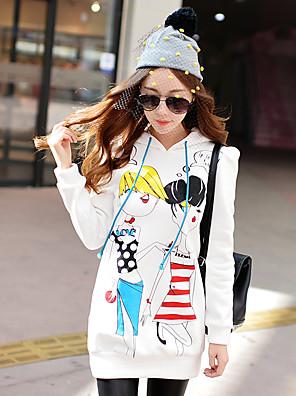 Rosa Doll® Damen Rundhalsausschnitt Lange Ärmel Kapuzenpullover & Sweatshirts Weiß-X14CSW048