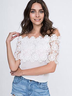 Tee-shirt Aux femmes,Couleur Pleine Décontracté / Quotidien simple Eté Manches Courtes Une Epaule Blanc Polyester Fin
