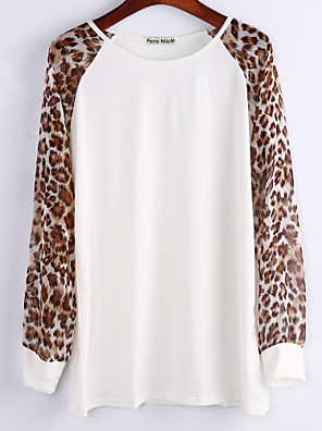 Women's Chiffon Long Leopard Sleeve Crew Neck Top