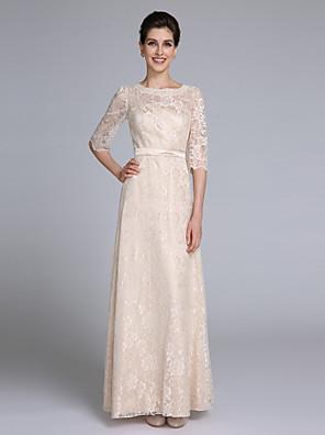 2017 Lanting mãe bainha / coluna bride® da meia rendas manga noiva vestido longo com faixa fita /