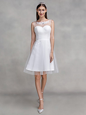 2017 לנטינג bride® א-קו טול סקופ באורך ברך שמלת כלה עם אפליקציות / שתי וערב