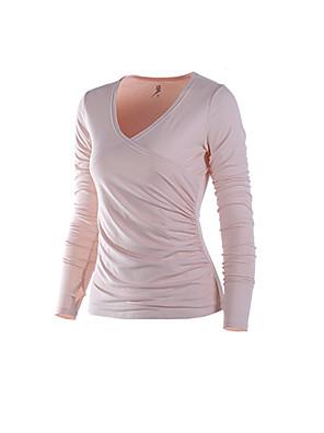 ריצה טי שירט לנשים ייבוש מהיר / תומך זיעה ריצה ספורטיבי בגדי ספורט לבן / ביסק