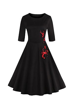 כל העונות כותנה לבן / שחור אורך שרוול ¾ עד הברך צווארון עגול רקמה וינטאג' ליציאה / מידות גדולות שמלה נדן / סווינג נשים,גיזרה בינונית