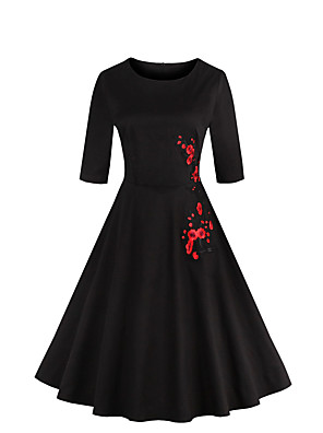 Feminino Bainha / Swing Vestido,Happy-Hour / Tamanhos Grandes Vintage Bordado Decote Redondo Altura dos Joelhos Manga ¾ Branco / Preto