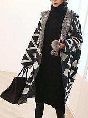 Jednoduché Dlouhé Plášť / Capes Barevné bloky,Černá Dlouhý rukáv Kapuce Bavlna Podzim Tlusté Lehce elastické