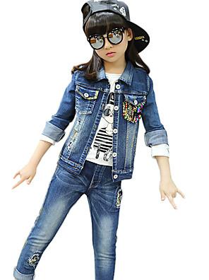 Girl's Cotton Spring/Autumn Casual Patchwork Paillette Cowboy Jacket Denim Coat And Jeans Pants Two-piece Set