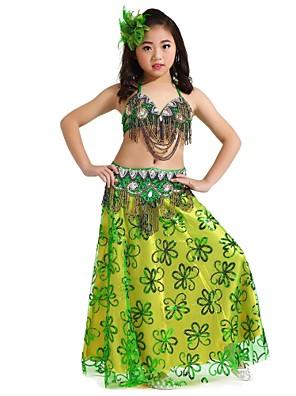 ריקוד בטן תלבושות בגדי ריקוד ילדים ביצועים שיפון Paillettes 3 חלקים בלי שרוולים נפול חצאית / עליון / חגורהTop Length :34cm Skirt