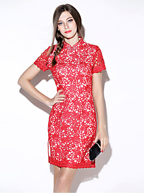 eenvoudige solide bodycon jurk, ronde hals mini polyester's i-yecho vrouwen