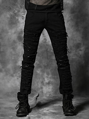 K-179 Punk Rave denim torn pants with stretch