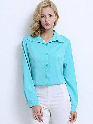 Women's Casual/Daily Sexy Fall Shirt,Solid Shirt Collar Long Sleeve Blue / Pink / Red / White / Green / Orange / Yellow