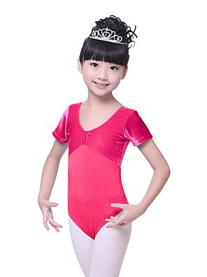 בלט בגדי גוף בגדי ריקוד ילדים אימון כותנה / קטיפה Ruched חלק 1 שרוול קצר טבעי Leotard100:57cm, 110:59cm, 120:61cm, 130:63cm, 140:65cm,