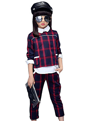 Girl's Casual/Daily Plaid Clothing Set,Cotton Spring / Fall Green / Red
