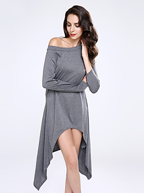 Women's Solid Black / Gray Pullover , Casual / Plus Sizes Long Sleeve Sweaters