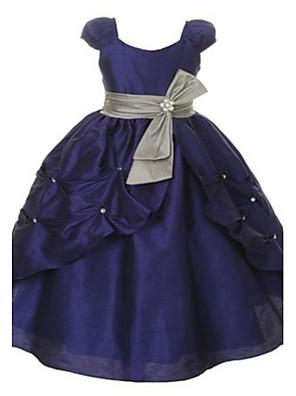 2017 plesové šaty podlahy délka květin šaty - organza / taft s krátkým rukávem lopatka s obruby / uklonit (y)