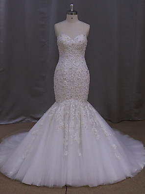 Sereia Vestido de Noiva Cauda Escova Coração Tule com Com Apliques / Miçanga / Cristais