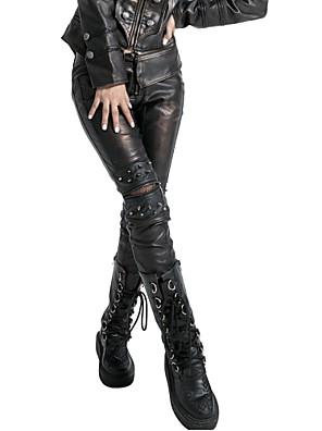 punk rave női fekete / ezüst vékony nadrág, szüret