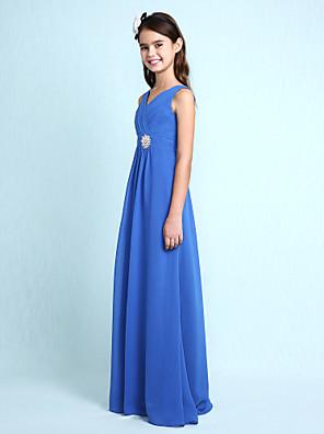Lanting Bride® Na zem Šifón Šaty pro malou družičku Pouzdrové Do V s Křišťály / Křížení