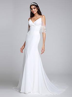 2017 Lanting alças finas bride® trompete / sereia vestido de casamento de trem tribunal chiffon com beading