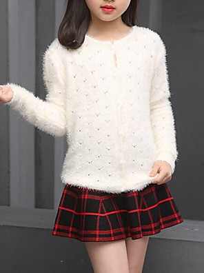 Girl's Casual/Daily Solid Sweater & Cardigan,Cotton Spring / Fall Red / White / Yellow