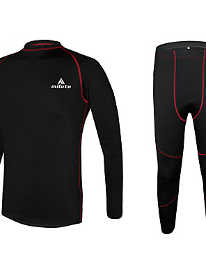 Miloto® שכבת בסיס לרכיבה לגברים שרוול ארוך אופניים שמור על חום הגוף / ייבוש מהיר / בטנת פליז / חדירות ללחות / דחיסה / תומך זיעהסוודר /