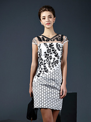 שמלת המשמרת הסקסית המקרית / יומית של klimeda נשים, צוואר V רקום עליו מעל ברך שרוול קצר פוליאסטר קיץ