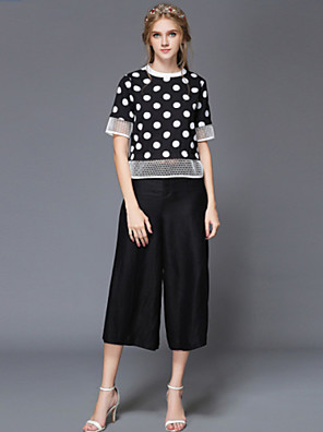 Summer Women's Casual Vintage Plus Size Loose Dot Print Hollow Out Blouse+Wide Legged Pants Two Piece Set